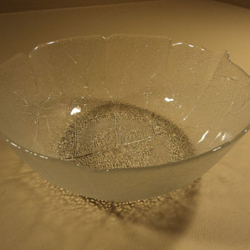 Designer Glass Bowl 10 3/4in Diameter x 4in H Clear Leaf -- Used