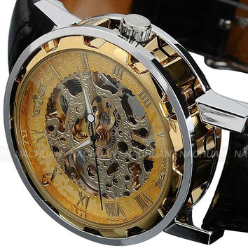 Men's Stainless Steel Dial Skeleton Black Leather Classic Mechanical Sport Army Wrist Watch