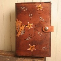 Jasmine Journal - Leather in Yellow, Sage Green, White, Gold and Antique Mahogany | moxieandoliver - Paper/Books on ArtFire