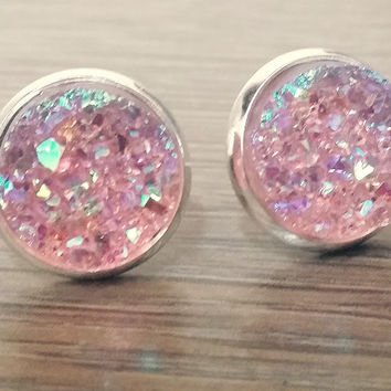 Druzy earrings-  Light pink drusy silver tone stud druzy earrings