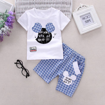 Hot sale baby girls boys cartoon mickey t shirt +plaid shorts set fashion summer cute childrens casual clothes outwear 17F419