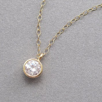 Dot necklace, gold filled chain, clear crystal solitaire, zircon, cubic zirconia cz, tiny small minimalist