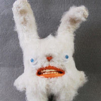 White Rabbit Plush / Teddy Bear with teeth - Decorative Doll - Handmade and OOAK - MANFRED /Made to order/ Quirky Uncanny Scary Creepy Cute