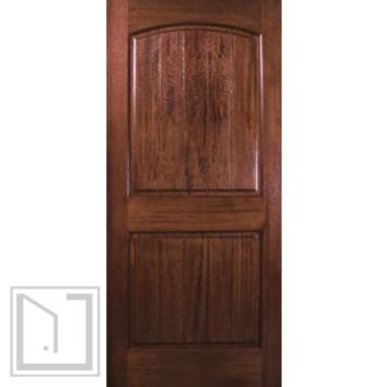 Prehung Exterior Single Door 80 Wood Mahogany 2 Panel V-Grooved Solid