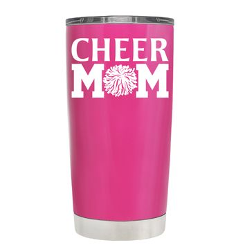 Cheer Mom Pom Pom on Bright Pink 20 oz Tumbler Cup