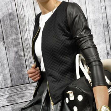 Women PU Leather Casual Zip Long Sleeve Chic Stylish Top Outwear Parka Coat Zipper Patchwork Baseball Jacket LXZ020M XXL