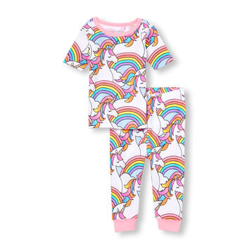 Baby And Toddler Girls Short Sleeve Glitter Rainbow Unicorn Printed Top And Pants Snug-Fit PJ Set | The Children's Place
