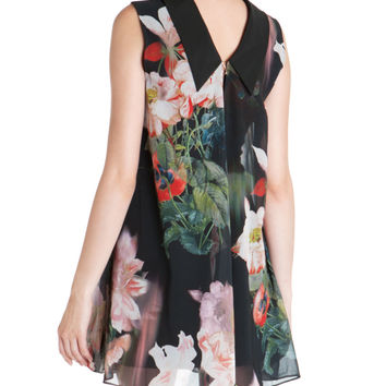 Opulent bloom printed reversible tunic - Black | New Arrivals | Ted Baker UK