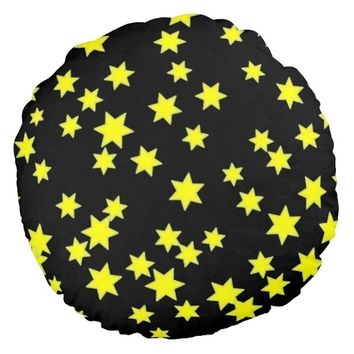 Yellow Stars Round Pillow