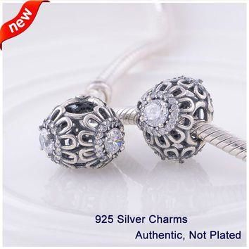 LW365 1PCS/lot Fashion 925 Sterling Silver Beads Glass Hollow Flower Charms Fits Pando
