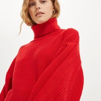 Balloon Sleeve Roll Neck Jumper