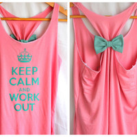Keep Calm and Work Out Tank with Bow  SMALL by personTen on Etsy