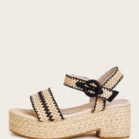 Buckle Strap Plaited Wedges