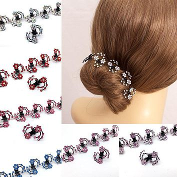 LNRRABC  6 Pcs/Set Rhinestone Flower Hair Clips Clamp Women Lady Hair Claws Bridal Jewelry Hair Accessories Barrettes Hairpin