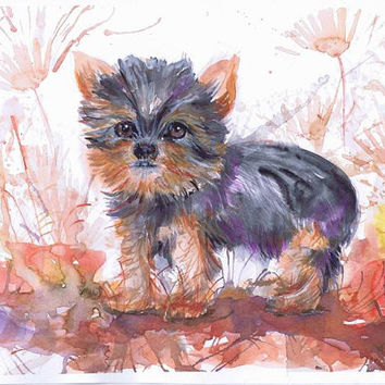 OOAK original watercolor  painting,  dog wall decor,  Yorkshire  puppy, Puppy and flowers