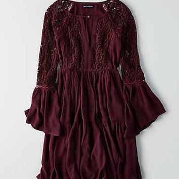 AEO Tiered Keyhole Dress, Washed Plum