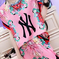 NY New fashion letter floral print top and pants two piece suit Pink