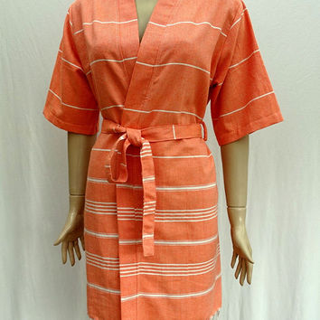 Women's orange colour short sleeved soft cotton kimono bathrobe, dressing gown, bridesmaid robe, spa robe, swimming pool robe.