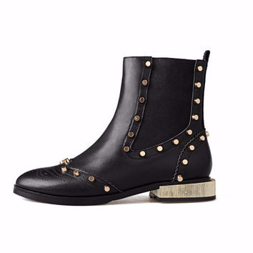 Sid Studded Leather Ankle Boots
