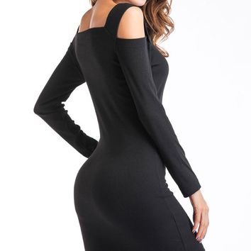 Off Shoulder Bodycon Mini Black Dress