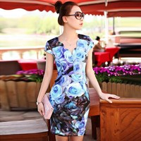 Printed Silk Ice Slim Dress Blue - Designer Shoes|Bqueenshoes.com