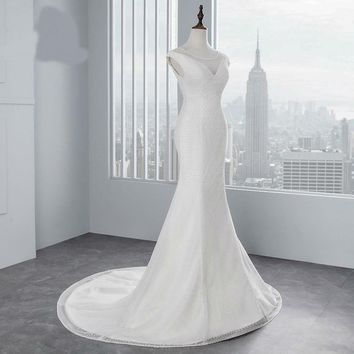 Sexy chest Mermaid wedding dresses  Cap sleeves lace Wedding Gown