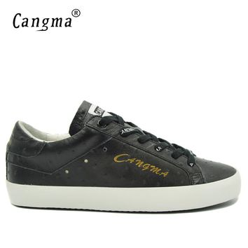 CANGMA Designer Handmade Black Shoes For Man Luxury Brand Sneakers Men Genuine Leather Male Italian Trainer Fashion Casual Shoes