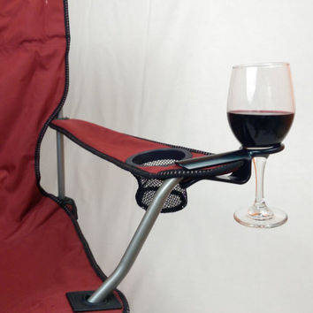Four Wine Hooks w/ free shipping...Wine glass holder attaches to an outdoor chair. Use on most Patio, Beach, Adirondack and Camp/Bag chairs