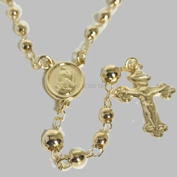 "Gold Tone 5mm Beads 22""L Virgin 18Kts Gold Plated Rosary"