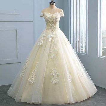 Short Sleeve Off Shoulder Ball Gown Wedding Dresses White champagne color Embroidery appliques Wedding Dress