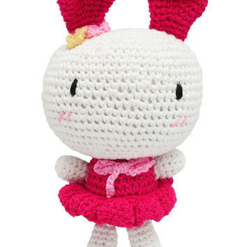 White-Pink Bunny Handmade Amigurumi Stuffed Toy Knit Crochet Doll VAC