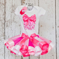 Baby Girl's First Birthday Outfit-Onesuit or T-Shirt with 3D Present Detail & Age Number and Light Pink, White and Hot Pink Ribbon Trim Tutu
