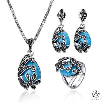 Fashion Vintage Women Jewelry Set Antique Teardrop Necklace Set Jewelry Delicate Natural Stone Jewelry Alloy Crystal Jewelry 20%