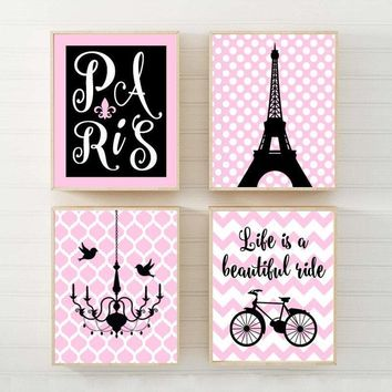 PARIS Wall Art Canvas or Prints Eiffel Tower Decor, Pink Black, Paris Nursery Decor, Girl Bedroom Wall Decor, Set of 4 Chandelier Bicycle