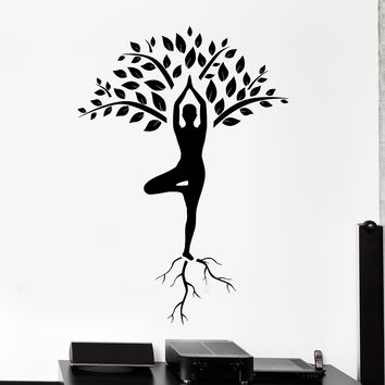 Wall Vinyl Decal Yoga Tree Mediatation Zen Om Home Interior Decor z4115