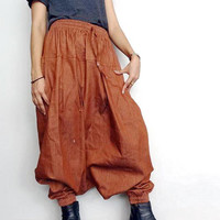 Denim Cotton Drop Crotch Long Trouser,Unisex Baggy Harem pants,Jeans Amber Medium Weight (pants-PJ4).