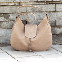 Nude nubuck hobo bag. Beige leather shoulder bag. Medium size nubuck bag.