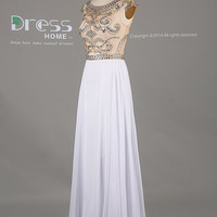 Sweet 16 White Beading Cap Sleeve Long Prom Dress/Party Dress/White Prom Dress/Long Chiffon Prom Dress/Prom Dress 2014 DH383