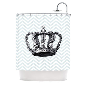 "Suzanne Carter ""Crown"" Blue Black Shower Curtain"
