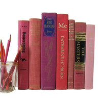 Pink Decorative Vintage Books by Color, S/7