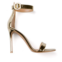 GIANVITO ROSSI GOLD-TONE POLISHED LEATHER HEELS SANDALS