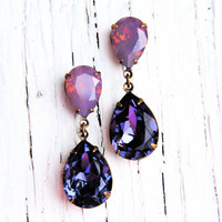 Lavender Raspberry Opal Purple Earrings Swarovski Crystal Earrings Tear Drop Post Dangle Rhinestone Earrings Duchess Hourglass Mashugana