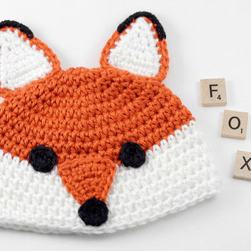 Crochet Fox Baby Hat // Newborn Photo Prop // Fox Beanie // Foxy Baby Hat