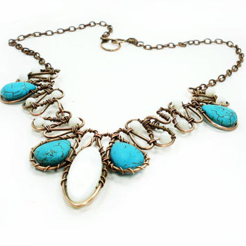 Bib Necklace, copper wire necklet, turquoise necklet, wire wrapped bib necklace, unique necklet, wire wrap necklet, handmade necklet, ooak