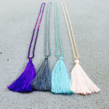 Tassel Wrap Necklace - Tassel Necklace - Beaded Tassel Necklace - Long Tassel Necklace - Pendant Tassel Necklace