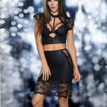 Wet Look And Lace Crop Top And Skirt