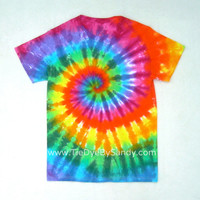 Tie Dye Shirt- Small Classic Rainbow Spiral