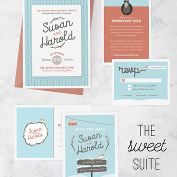 Winter Wedding Invitation Package with Wedding Invitation, Save the Date postcard, RSVP card, and invitation insert, Ski Lodge Wedding