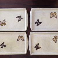 Fiberglass Butterfly Trays Set of Four | Lunch Trays | Butterfly | Ivory Trays | Serving Trays