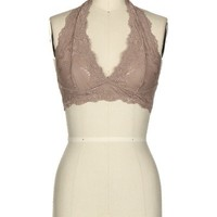 Lace Halter Bralette - Warm Taupe